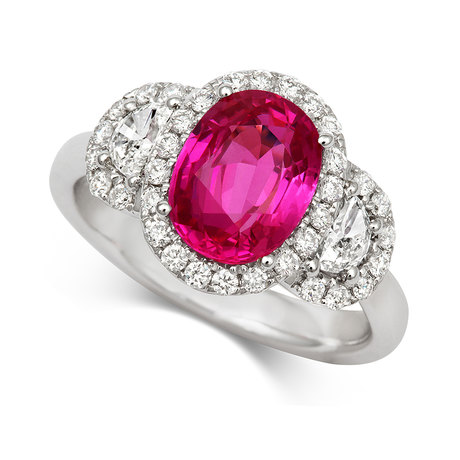 18ct White Gold and Diamond Ring with 2.87ct Ruby