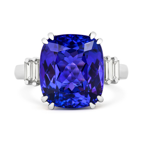Platinum and Diamond Ring with 11.19ct Cushion Cut Tanzanite