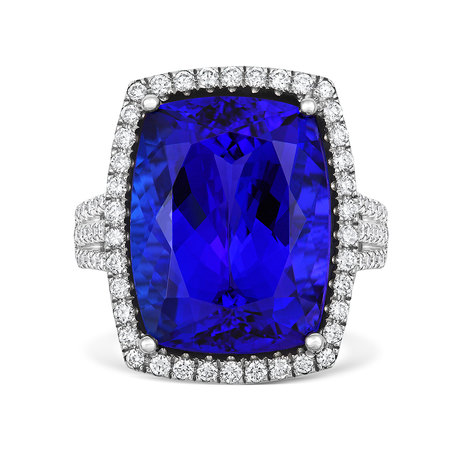 18ct White Gold and Diamond Ring with 17.36ct Tanzanite