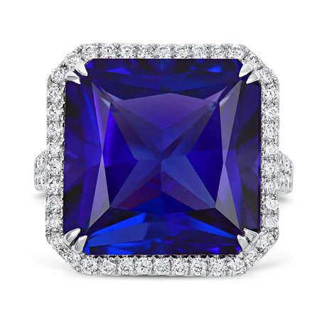 18ct White Gold and Diamond Ring with 18.88ct Radant Cut Tanzanite