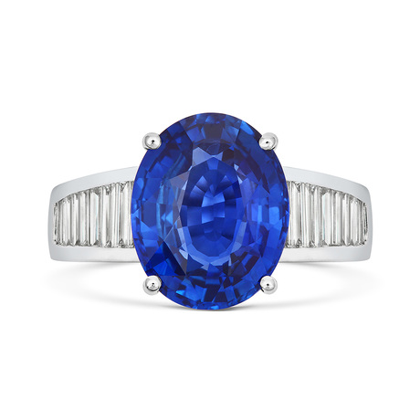 18ct White Gold and Diamond Ring with 6.75ct Ceylon Blue Sapphire