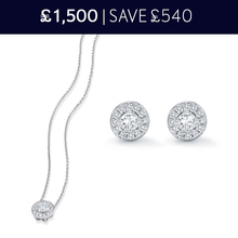 For Her - 18 Carat White Gold Halo Pendant and Earrings 0.58 Total Carat Weight Christmas Set