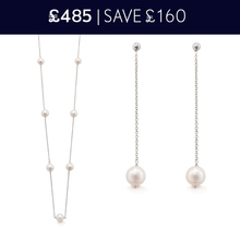 For Her - Gossamer 18 Carat White Gold Pearl Necklace and Drop Earrings Christmas Set