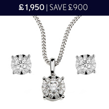 For Her - 18 Carat White Gold Masquerade Pendant and Earrings 0.84 Total Carat Weight Christmas Set