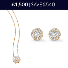 For Her - 18 Carat Yellow Gold Halo Pendant and Earrings 0.87 Total Carat Weight Christmas Set