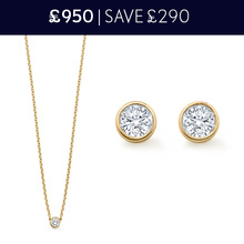For Her - Gossamer 18 carat Yellow Gold 0.32 Total Carat Weight Diamond Necklace and Earrings Christmas Set