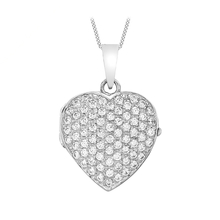 9ct White Gold Cubic Zirconia Heart Locket