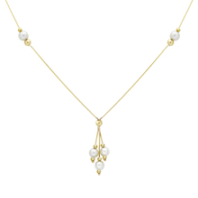 9ct Yellow Gold Pearl and Ball Y-Shaped Necklace