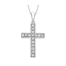 9ct White Gold Cubic Zirconia Cross Pendant