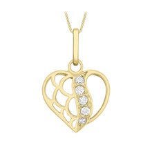 9 Carat 2 Colour Cubic Zirconia Open Heart Pendant 18 Inch