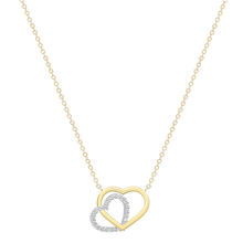 9ct White & Yellow Gold Plain and Cubic Zirconia Heart Necklace