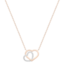 9ct White & Rose Gold Plain and Cubic Zirconia Heart Necklace