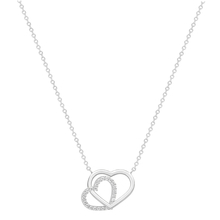 9ct White Gold Plain and Cubic Zirconia Heart Necklace