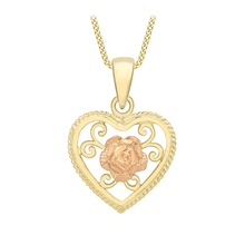 9 Carat 2 Colour Gold Heart and Rose Pendant 18 Inch