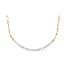 9 Carat Yellow Gold Diamond Crescent Bar Adjustable Necklet 16 - 18 Inch