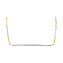 9 Carat Yellow Gold Diamond Bar Adjustable Necklet 16 - 18 Inch