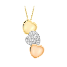 9 Carat 3 Colour 0.10 Carat Diamond Heart pendant 18 Inch