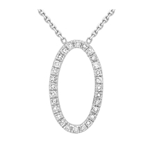 9 Carat White Gold Oval Diamond Adjustable Necklet 16 Inch