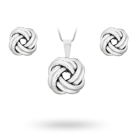 Silver Knot Pendant And Stud Set