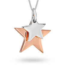 Silver And Rose Gold Plated Double Star Pendant