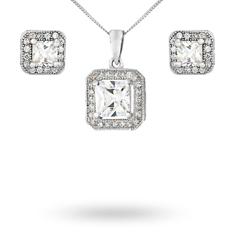 For Her - Silver Cubic Zirconia Square Halo Pendant And Stud Set