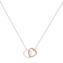 White and Rose Gold Plated Double Heart Necklece