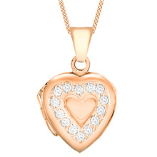 Rose Gold Plated Cubic Zirconia Edge Heart Locket