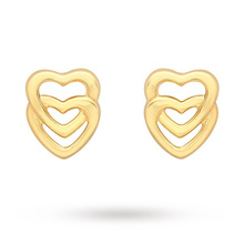 9 Carat Yellow Gold Entwined Hearts Stud Earrings