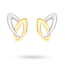 9 Carat 2 Colour Gold Double Marquise Stud Earrings