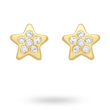 9ct Yellow Gold Star Cubic Zirconia Stud Earrings