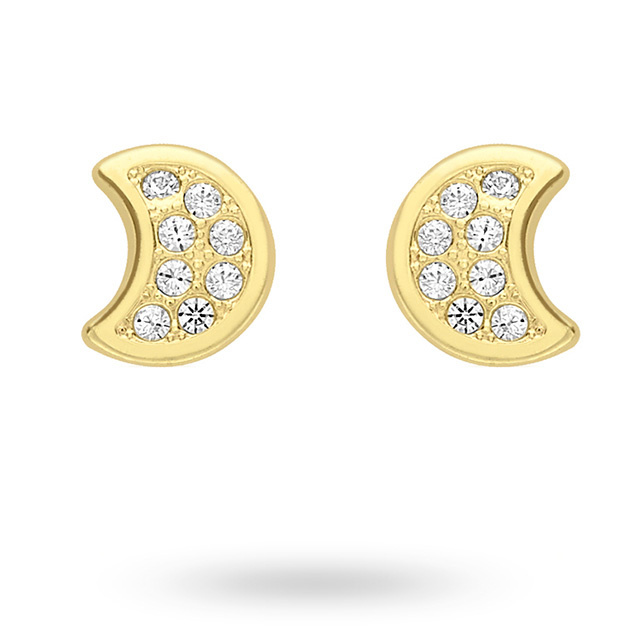 9ct Yellow Gold Moon Cubic Zirconia Stud Earrings