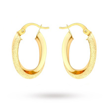 9 Carat Yellow Gold Double Oval Creole Earrings