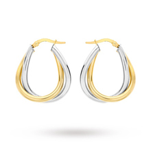 9 Carat 2 Colour Gold Twined Creole Earrings
