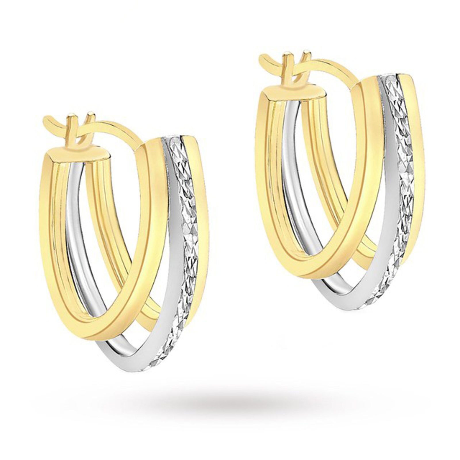 9 Carat 2 Colour Gold Diamond Cut Triple Huggy Earrings