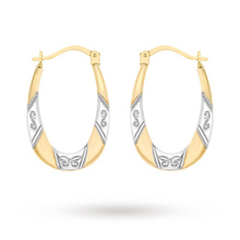 9 Carat 2 Colour Gold Patterned Creole Earrings