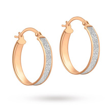 9 Carat Rose Gold Small Stardust Creole Earrings