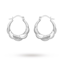 9 Carat White Gold Textured Scollop Edge Creole Earrings