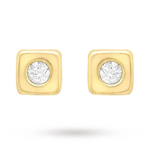 9 Carat Yellow Gold Cubic Zirconia Stud Earrings