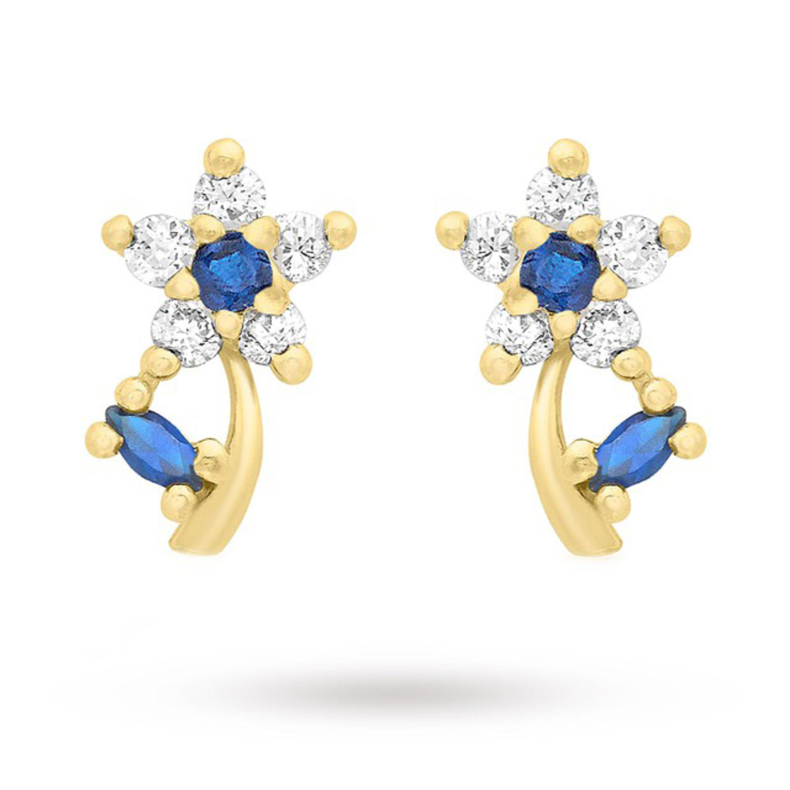 9 Carat Yellow Gold Blue and White Cubic Zirconia Flower Stud Earrings