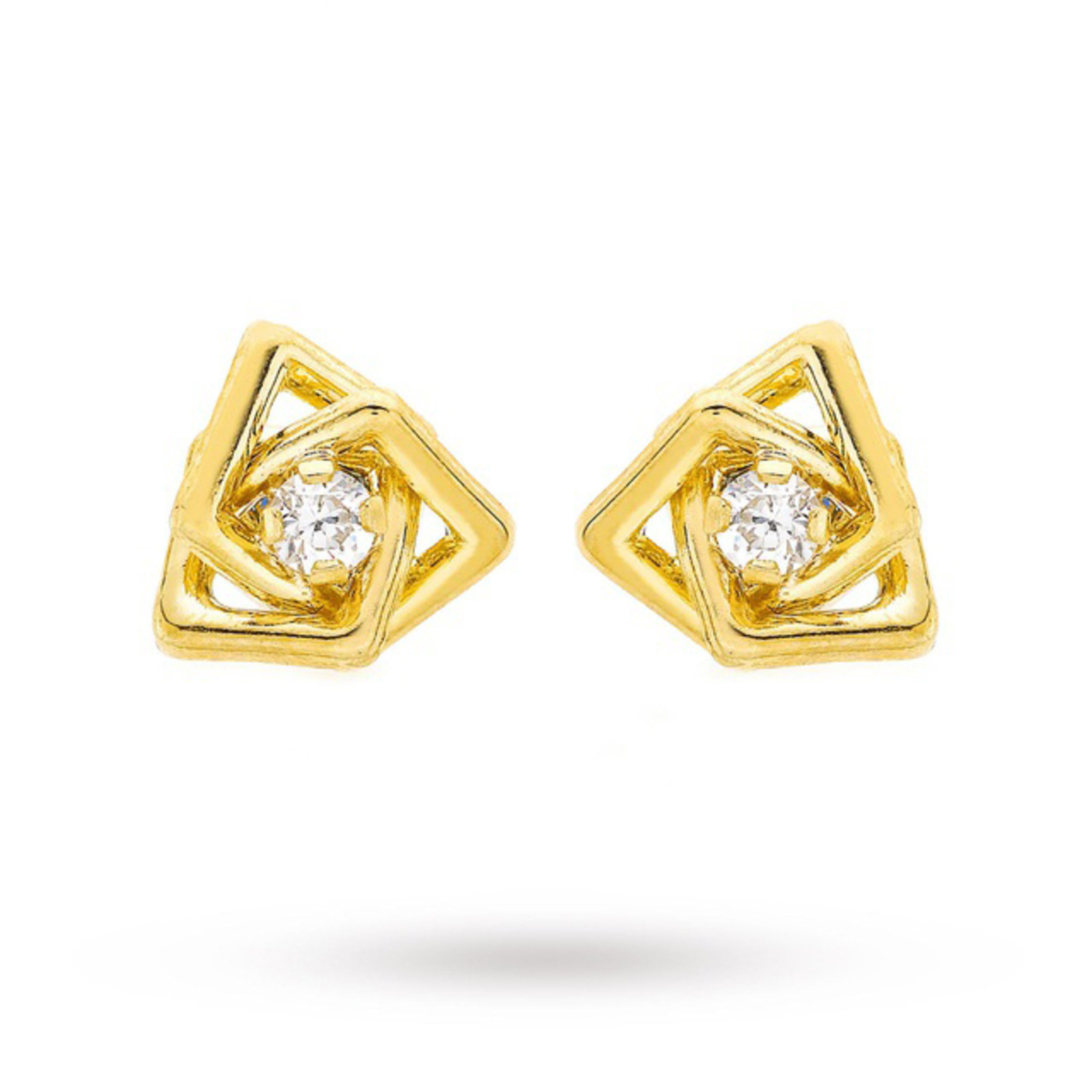 9 Carat Yellow Gold 8mm Square Knot and Cubic Zirconia Stud Earrings
