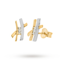 9 Carat 2 Colour Gold Cubic Zirconia Kiss Stud Earrings