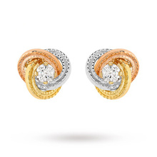 9 Carat 3 Colour Gold 8mm Knot and Cubic Zirconia Stud Earrings