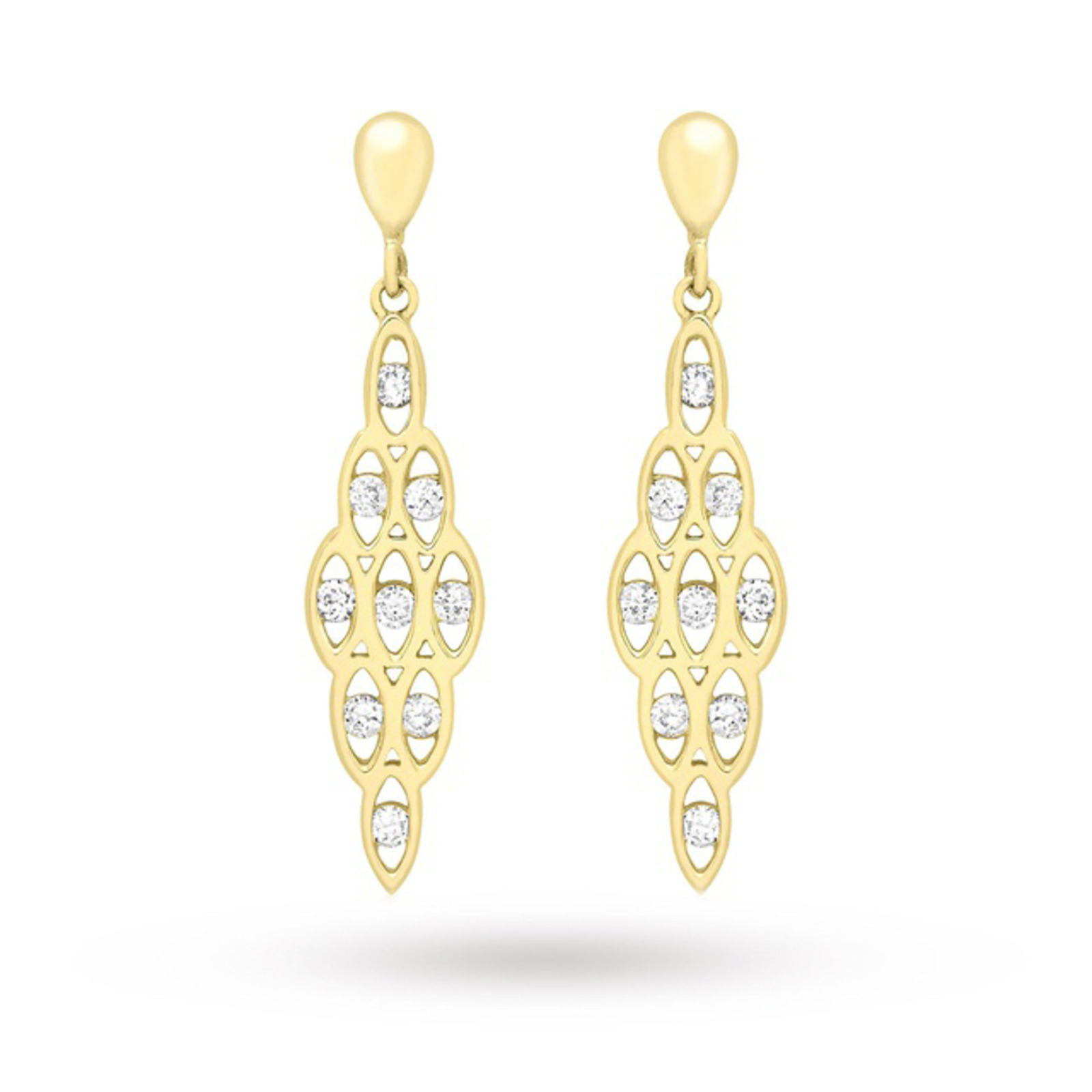 9 Carat Yellow Gold Honeycomb Cubic Zirconia Drop Earrings