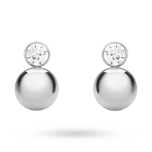 9 Carat White Gold Cubic Zirconia and Ball Drop Earrings