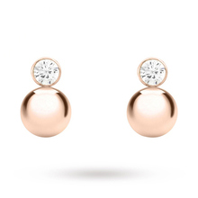 9 Carat Rose Gold Cubic Zirconia and Ball Drop Earrings