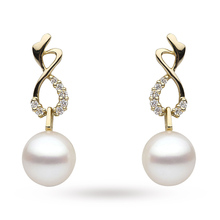 18 Carat Yellow Gold  0.11 Carat Diamond and South Sea Pearl Earrings