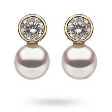 9ct Yellow Gold Round Cubic Zirconia & Pearl Stud Earrings