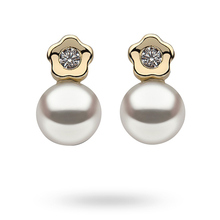9ct Yellow Gold Flower Cubic Zirconia & Pearl Stud Earrings