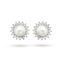 9ct White Gold 0.25ct Diamond and Pearl Cluster Stud Earrings