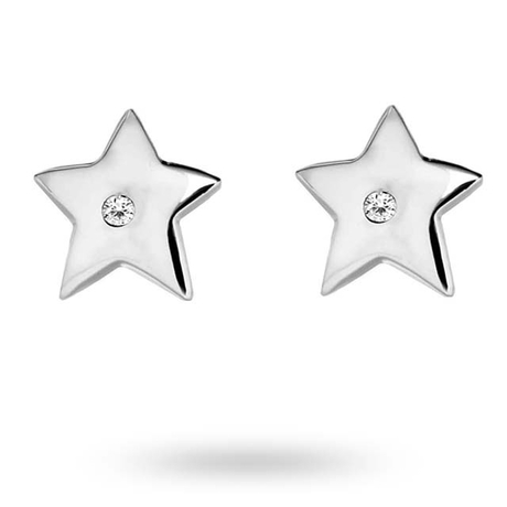 For Her - Silver Cubic Zirconia Star Stud Earrings - 15110023